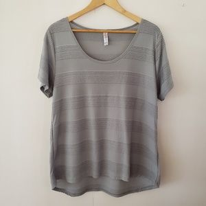 Lularoe | Textured Perfect Tee Green/Grey XL